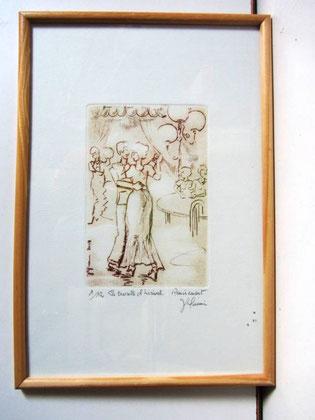 *932- La guinguette de La Croisette 20 x 30, vélin d'Arches