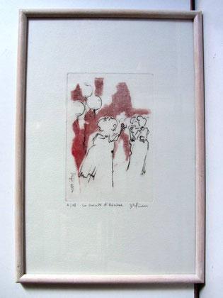 *904- La guinguette de La Croisette 20 x 30, vélin d'Arches