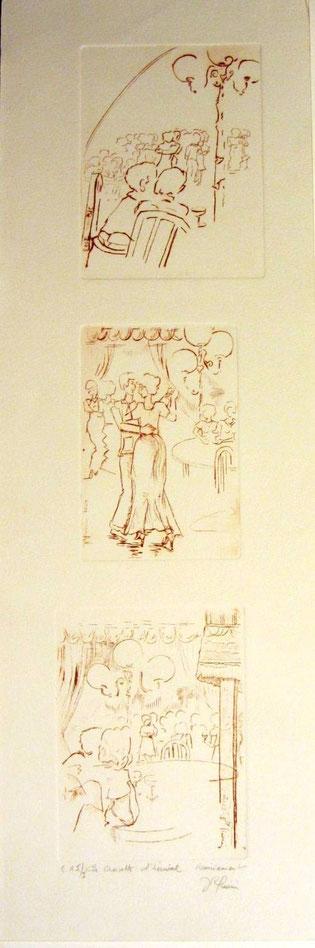 *889- La guinguette de Remiremont, 3 gravures en hauteur, 50x20