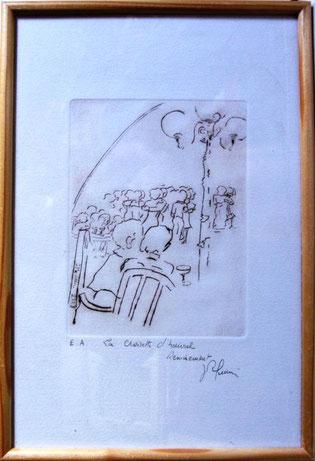 *921- La guinguette de La Croisette 20 x 30, vélin d'Arches