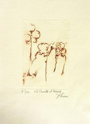 *909- La guinguette de La Croisette 20 x 30, vélin d'Arches