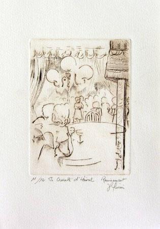 *930- La guinguette de La Croisette  20 x 30, vélin d'Arches