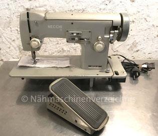 Necchi Nora BU, Flachbett-Haushaltsnähmaschine mit Zickzack und Einbaumotor, Hersteller: Necchi, Pavia, Italien (Bilder: Naehmaschinenverzeichnis)