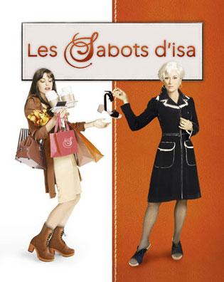Cette image représente un détournement de l'affiche du film le Diable s'habille en Prada. Les deux héroïnes sont fan des sabots d'isa