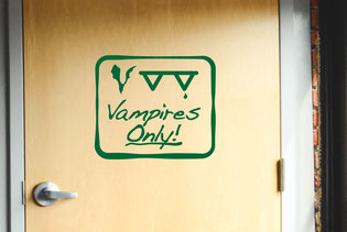 Vampires only Halloween vinyl decal sign home décor with bat and blood teeth.