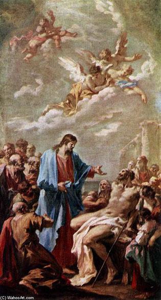 Giovanni Pellegrini.La curación del paralítico,1730. Esta obra es un boceto de extraordinario virtuosismo, para el monumental altar de San Carlos Borromeo de Viena fue Carlos VI quien la mandó construir conmemorando el final de la peste.