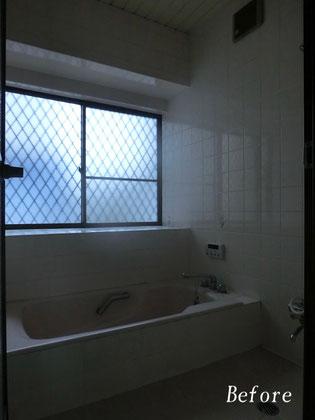 既存浴室解体前(タイル張り浴室)