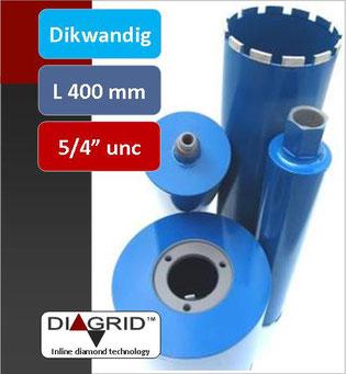 """PRODITO Dikwandige kernboren of diamantboren met een nuttige lengte van 400 mm en 5/4"""" unc aansluiting voor het nat boren in beton en gewapend beton verkrijgbaar van diameter 14 mm tot diameter 132 mm"""