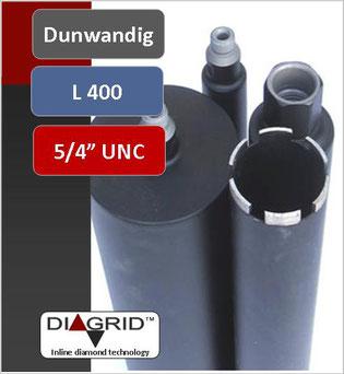 kernboor of diamantboor dunwandig diameter 18mm tot 132mm 400mm nuttige lengte aansluiting 5/4unc voor nat te boren in beton en gewapend beton