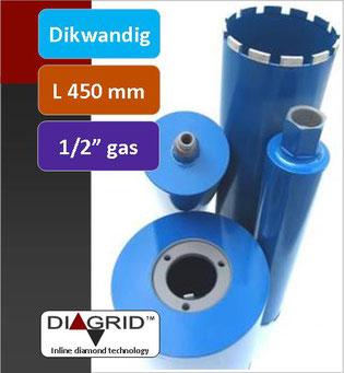 PRODITO Dikwandige kernboren of diamantboren met een nuttige lengte van 450 mm en 1/2 gas aansluiting voor het nat boren in beton en gewapend beton verkrijgbaar van diameter 14 mm tot diameter 132 mm