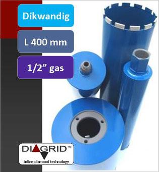 PRODITO Dikwandige kernboren of diamantboren met een nuttige lengte van 400 mm en 1/2 gas aansluiting voor het nat boren in beton en gewapend beton verkrijgbaar van diameter 14 mm tot diameter 132 mm