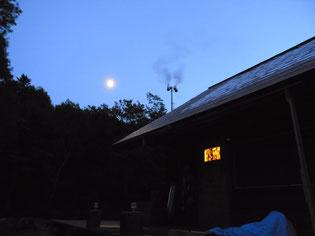 夕張ヒュッテとお月さま、おやすみなさい