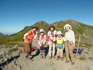丸山(3,032m)山頂にて