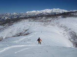 白山を正面に取立平に滑り込みます