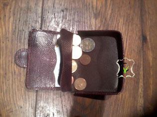 porte monnaie cuvette avec porte carte en lézard lie de vin doublé vachette cousu main