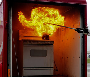 As pictured, fire rapidly spreads and intensifies when water is used on a grease fire.
