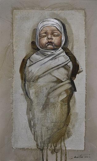 bébé, enfant, nativité, espoir, peinture, art, painting, contemporary, artist