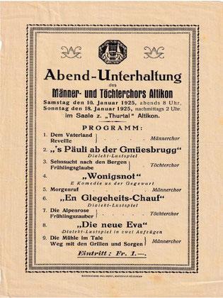 Plakat der ersten gemeinsamen Unterhaltung 1925