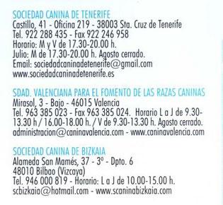 Sociedades caninas colaboradoras de la Real Sociedad Canina de España (R.S.C.E.)