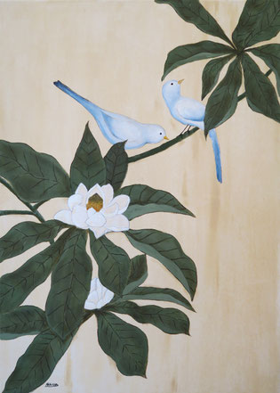 Japanese Nihonga painting blue birds standing on a magnolia tree with white beautiful flowers in bloom traditional Asian artwork for your home art for sale