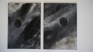 Bilderpaar Schüttbilder - auch einzeln zu erwerben (Größe je Bild 50 x 70) Preis auf Anfrage