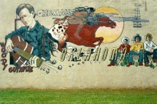 Woody Guthrie Wandgemälde in Okemah