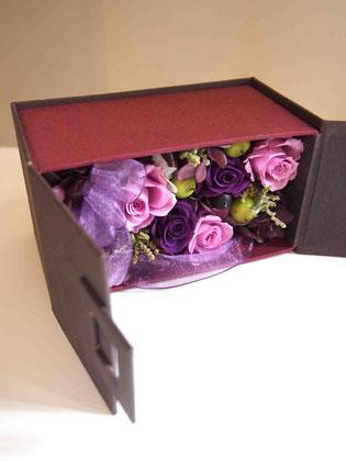 プリザーブドフラワー,ボックス,アレンジ,ギフト,女性,プロポーズ,紫