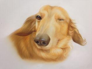 エアブラシアート犬