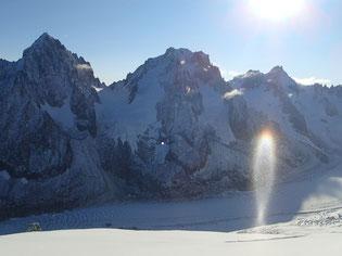 Jeux de lumières sur le Glacier d'Argentière