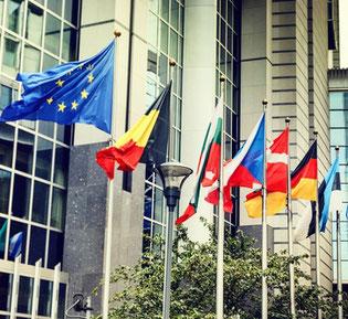 les drapeaux européens de sociétés étrangères