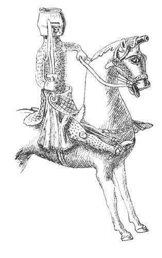 Reiterstatue 13. Jhd. mit Sporn