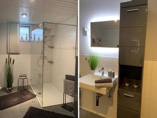 Ferienwohnung nahe der Südlichen Weinstraße, Bad mit Wanne und Duschabtrennung