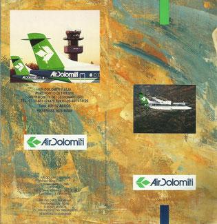 Copertina orario ufficiale Air Dolomiti 1995
