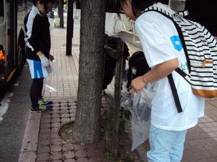 ゴミ拾い活動 学校前の植木の奥に捨てられているゴミ発見!