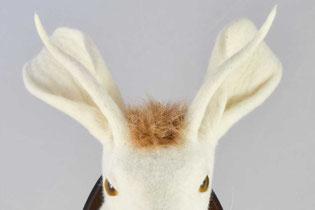 Hasnkopf mit langen Hörnern aus weißem Filz
