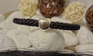 Pferdehaar Armband mit Herzperle und Gravur