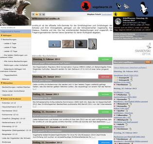 Startseite von ornitho.ch