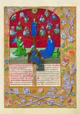 f. 354r. L'Annonciation et l'arbre de Jessé.