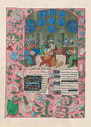 f. 146v. David et les chanteurs du Temple.