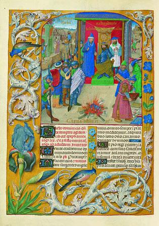 f. 111v. Nabuchodonozor préside l'incendie des livres.