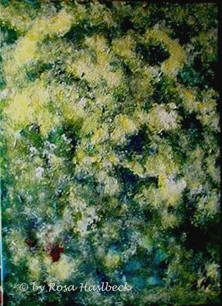 Acrylbild, acryl, struktur, grün, weiß, gelb, bild, malen, malerei, kunst, geko, dekoration, wandbild, abstrakt, sommer, sommertraum