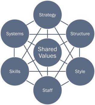 Struktur des soft & hard 7S Faktor-Modells von McKinsey & Company (das glückliche Atom)