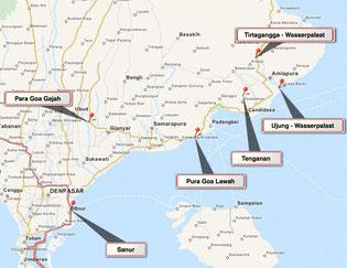 Bild: Karte von Tour 1 auf Bali