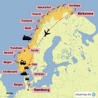 Bild: Karte der Reiseroute mit Hurtigruten