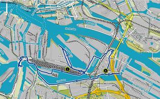 Bild: Karte der Wanderung auf der Veddel, durch den Müggenbrunner Zollhafen und dem Spreehafen