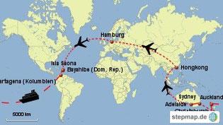 Bild: Karte der Weltreise 2016