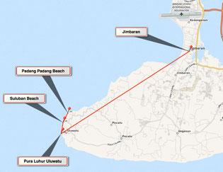 Bild: Karte Tour 4 auf Bali - Von Jimbaran nach Pura Luhur Uluwatur zu den Stränden Sulaban Beach und Padang Padang Beach