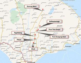 Bild: Karte der Tour 2 auf Bali