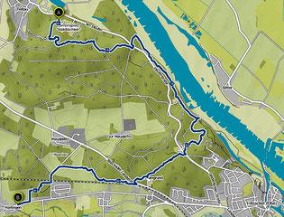 Bild: Karte von der Wanderung Klötziestieg bei Hitzacker am 2. Tag
