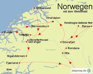 Bild: Karte mit dem Wohnmobil durch die Mitte Norwegens